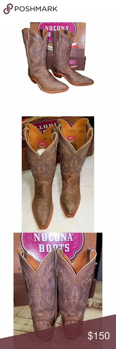 "Nocona Cowgirl Boots Lt Brown Leather Style LD2732/Tan Vintage Cow Top & vamp are leather Snip Toe 11"" Shaft   1.5"" heel 12"" from heel to toe & 3 7/8"" across the soul at its widest point Beautiful pair of boots & only worn a few times Leather is soft &supple There are a few areas that I am calling spots but could just be variations in the leather They have tan and cream stitching w a few rows of contrasting blue stitching Come in a Nocona box that says size 7 B, but they are 9 B asshown in…"