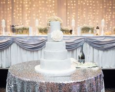 #White Wedding Cake, part of a #silver themed wedding  // Styling by Paper & Style Co. Photo by BLVD Photography.
