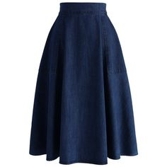 Chicwish Vintage Tour Denim A-line Midi Skirt ($45) ❤ liked on Polyvore featuring skirts, gonne, blue, a line skirt, a line midi skirt, knee length denim skirt, mid calf skirt and a line denim skirt