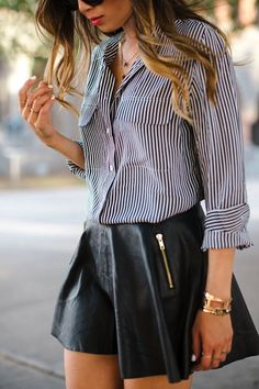 Leather Skirt and Pinstripe Shirt -- 50 Stylish Summer Outfits - Style Estate -