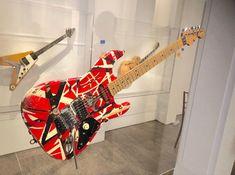 "Eddie Van Halen's 1978 touring rig and original ""Frankenstein"" guitar are on display in New York at the Metropolitan Museum of Art's ""Play It Loud"" Instruments of Rock & Roll exhibit. Room Wall Painting, Custom Electric Guitars, Best Guitarist, Unique Guitars, Floyd Rose, White Spray Paint, Eddie Van Halen, Rage Against The Machine, Musica"