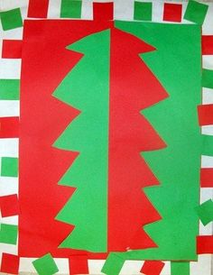 Christmas tress are found in nature and these trees show complimentray color by the reds and green in this construction paper artwork.