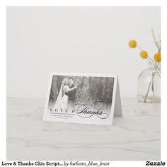 Love & Thanks Chic Script Photo Wedding Thank You Note Card by fatfatin Cheap Wedding Invitations, Online Invitations, Thank You Note Cards, Wedding Thank You Cards, Personalized Note Cards, Personalized Wedding Gifts, Thank You Typography, Modern Typography, Inexpensive Wedding Venues