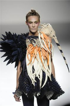 Sculptural Fashion - stork dress with bold 3D shoulder detail & crafted textures - fabric manipulation; wearable art // Eva Soto Conde