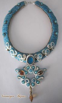 "Necklace soutache "" Sea and sun"""
