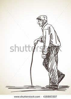 Drawing Human Figure Sketch of old man walking with stick Hand drawn illustration - Human Figure Sketches, Human Sketch, Human Figure Drawing, Figure Sketching, Figure Drawing Reference, Art Reference Poses, Life Drawing, Sketches Of People, Drawing People