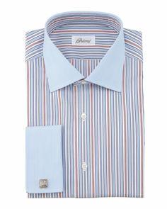 Contrast-Collar/Cuff Striped Dress Shirt, Blue/Burgundy by Brioni at Neiman Marcus.