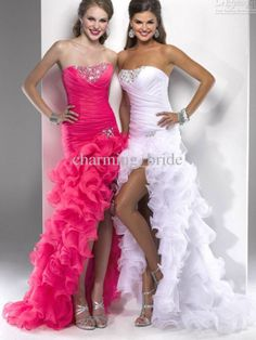 Pink and white high and low dresses