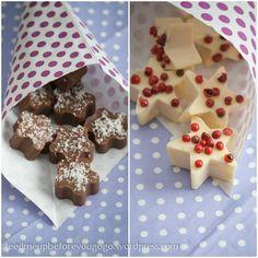 Dunkle Knallbrause-Schoki mit Kokos und weiße Knallbrause-Schoki mit rosa Pfefferbeeren