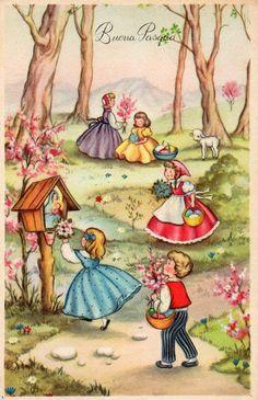 Miss Jane - vintage Easter postcard Fete Pascal, Vintage Cartoons, Easter Garland, Special Images, Easter Flowers, Easter Parade, Easter Art, Retro Illustration, Vintage Easter