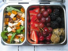 Keeley McGuire: Lunch Made Easy: OVER 25 Gluten Free & Allergy Friendly Lunch Box Ideas Salad with lots of chicken, fruit, and dessert balls! Allergy Free Recipes, Gf Recipes, Healthy Recipes, Good Foods To Eat, Healthy Foods To Eat, Healthy Eating, Lunch To Go, Lunch Box, Bento Box