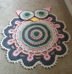 Crochet Owl Doily Rug Pattern - find free patterns in our post