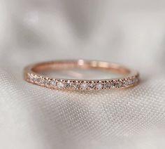Thin Design 14k Rose Gold Wedding Ring Pave 0.17ct SI/H Diamond  Engagement Ring/ Matching Band/ Full Eternity Band