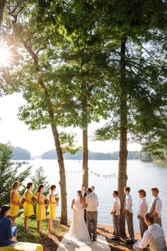 Yellow and gray Lake Keowee Wedding - see more at http://fabyoubliss.com Callyn and Brian's big day! Love Justin Demutiis Photagraphy