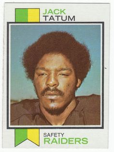 For sale 1973 topps football rookie card 288 jack tatum oakland raiders emorys memories. Raiders Football, Raiders Fans, Nfl Oakland Raiders, Nfl Football, Football Trading Cards, Football Cards, Baseball Cards, The Sporting Life, Defensive Back