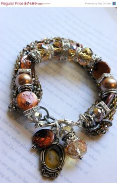 ON SALE chunky bracelet, chunky chain bracelet, multi strand bracelet, coin pearl bracelet, citrine bracelet, cameo bracelet