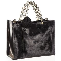 Black Black Calf Hair and  Leather Tote featuring polyvore, women's fashion, bags, handbags, tote bags, zip tote, reversible leather tote, leather tote handbags, leather zip tote and clear handbags totes