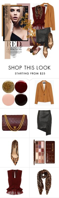 """Untitled #1801"" by lola-8march1982 ❤ liked on Polyvore featuring Nails Inc., Zara, Chanel, Finders Keepers, Jane Norman, Too Faced Cosmetics, Isabel Marant and Oasis"