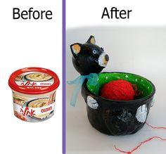 Yarn bowl cat yarn holder / knitting bowl / Black by RecycoolArt
