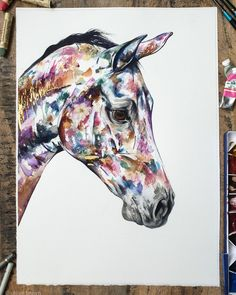 Contemporary watercolour commission for a platinum collector 🙏 This piece will be heading off to Marbella soon. I just need to cut the sheet down to the outlined size This piece is adorned with real gold leaf, real flowers and beautiful model! Chloe Brown, Watercolor Flowers, Watercolour, London Art, Contemporary Artwork, Horse Art, Gold Flowers, Real Flowers, Pet Portraits