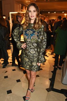 Lily James in Burberry.