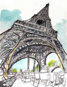 Eiffel in Love - Watercolor/Ink on Watercolor paper