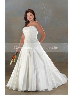 Nobre Organza Sem Alças Princesa Vestidos de Noiva