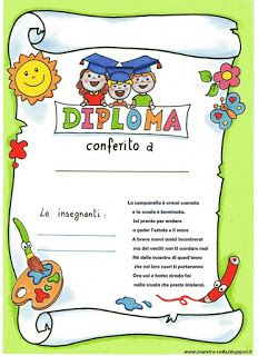 maestra Nella: diplomi scuola dell' infanzia Letters For Kids, Kindergarten Graduation, Classroom Rules, Italian Language, School Gifts, Giraffe, Activities For Kids, Back To School, Diy And Crafts