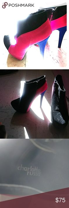 High heels Pink black and blue closed toe charlotte russe heels Charlotte Russe Shoes Heeled Boots High Heel Boots, Shoes Heels Boots, Heeled Boots, Charlotte Russe Heels, Pink High Heels, Pink Black, Christian Louboutin, Toe, Pumps