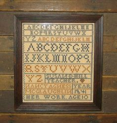 Reproduction Of 1841 Nancy Agness McGlaughlin Sampler, The Humble Stitcher