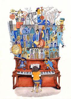 """'Baku"""" magazine illustration for an article on jazz, 2014 - Sveta Dorosheva Music Painting, Art Music, Magazine Illustration, Illustration Art, Piano Art, Illustrations And Posters, Whimsical Art, Art Plastique, Surreal Art"""