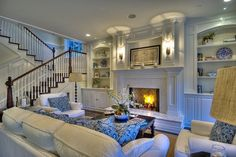 Blue and white ~beautiful living room - My Interior Design Ideas Luxury Interior Design, Home Interior, Home Design, Scandinavian Interior, Interior Ideas, Design Design, Design Ideas, Home Living Room, Living Spaces