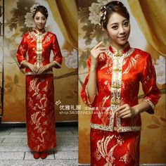 mobile site-Summer bride vintage married cheongsam skirt red chinese style wedding dress xiao fengxian evening dress 075