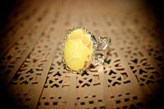 Vintage Floral Cabochon Ring by misanthropycreations on Etsy, $14.50