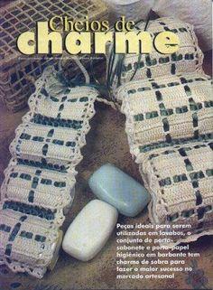 Crochê Gráfico: Porta sabonete e porta papel higienico em crochê