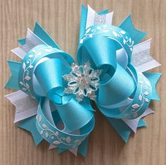 Frozen Aqua Snowflake Glitter Boutique Hair Bow by JadyBugBows, $9.99