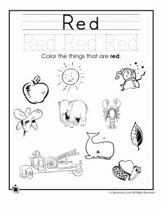 red colors 231x300 learning colors worksheets for preschoolers - Coloring Activity Pages