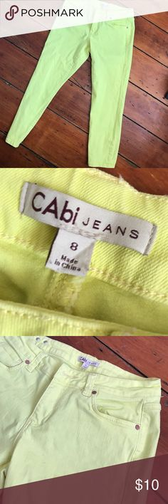 Cabi stretch jeans. Ankle cabi stretch jeans.  Size 8.  Great condition.  Worn.  Brighter yellow than shows up in photo.  Stretch.  Inseam 25. Waist 16. CAbi Jeans Ankle & Cropped