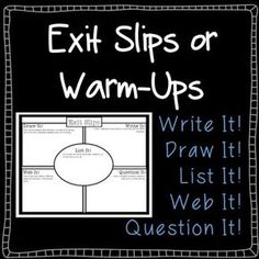 FREE!!!! Use on a daily basis as warm-ups or exit slips. Collect as they leave or give them a daily choice and then collect at the end of the week. Lots of options! Great way to assess how individuals are progressing!
