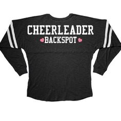 Cute Cheerleader Backspot Long Sleeve Squad Slub   Being the backspot on a stunt cheer leading team is an important thing! You protect everybody, and I mean everybody. The flyer, the spot, the base, they all depend on you to save them if something goes wrong. It's like the ultimate trust fall. This long sleeved tee is perfect for the backspot!