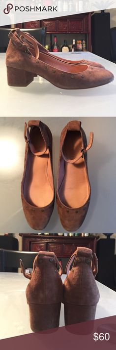 """Madewell Inez Ankle-Strap Block Heel Shoes, size 8 On trend block heel ankle-strap pumps with studs in beautiful cognac color from Madewell! Only worn once and in excellent condition. Has gently worn heels that can easily be repaired in shoe repair shop. True to size if you have narrow feet (I'm usually a 7.5 but I have wide feet so I went up to an 8.) Leather upper. 1 9/16"""" heel. Madewell Shoes Heels"""