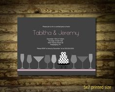 "Modern Bridal Shower Invitation Cocktail Party Contemporary Martini Glasses CHOOSE YOUR COLOR. $22.00, via Etsy. // Love the ""Tabitha & Jeremy"" font!"