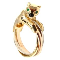 CARTIER Tri Color Gold Panther Emerald & Onyx Trinity Ring Band