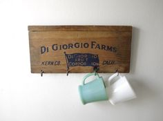 Vintage Wood Crate Sign  Key Rack  Farmhouse Kitchen by UpHome