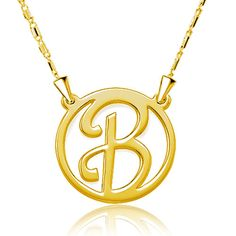 Sterling Silver Gold Plated Personalized Monogram necklace name necklace