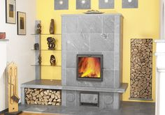 Masonry Heater Design House_ I like the door and how much glass there is and that it is square