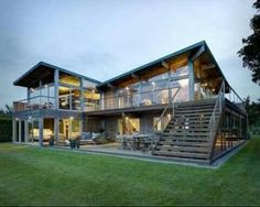 Lovely Home Design Guaranteed to Make Super Comfortable - Steel frame house - Glass House Design, Wooden House Design, Modern Glass House, House Roof Design, Home Design, Design Design, Stairs Architecture, Modern Architecture, Amazing Architecture