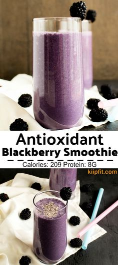 Antioxidant Blackberry Smoothie is not only refreshing but is tremendously healthy too. It has a combination of fresh blackberries, unsweetened almond milk, some dates (as sweetener) and plant based p (Vegan Recipes Breakfast) Smoothie Prep, Juice Smoothie, Smoothie Drinks, Smoothie Bowl, Fruit Smoothies, Healthy Smoothies, Healthy Drinks, Smoothie Recipes, Healthy Sweets