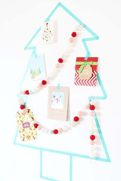 This DIY washi tape Christmas tree card holder is a fun and simple way to display Christmas cards and takes less than 30 minutes to make! Christmas Tree Card Holder, Christmas Card Display, Christmas Baubles, Christmas Crafts, Minimal Christmas, Modern Christmas, Simple Christmas, Beautiful Christmas Cards, Christmas Makes