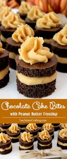 Chocolate Cake Bites with Peanut Butter Frosting - fun mini cakes with the most delicious Peanut Butter Frosting you have ever tasted. A great dessert idea and a unique take on a cupcake. Super easy t (Lemon Butter Frosting) Mini Desserts, Great Desserts, Christmas Desserts, Delicious Desserts, Dessert Recipes, Delicious Cookies, Dessert Ideas For Party, Christmas Ham, Christmas Cookies